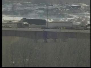 12:10: Truck goes over side of Valley View Bridge