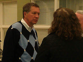 John Kasich at warming center