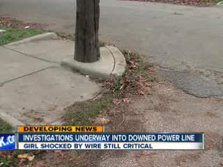 Girl shocked by power line