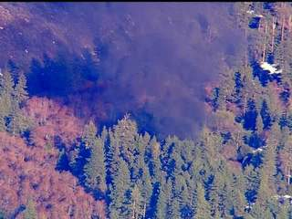 Aerials: Big Bear cabin on fire