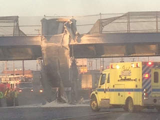 Truck crashes into I-90 bridge (viewer image)