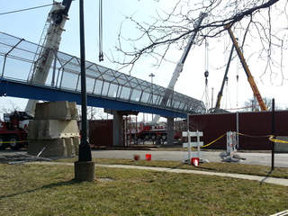 Pedestrian bridge damaged in 2013 being replaced