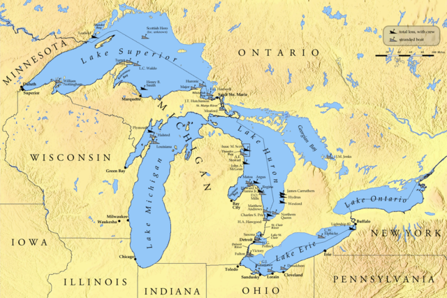 Th Anniversary Great Lakes Hurricane Of Deadliest Winter - Map of northern ohio