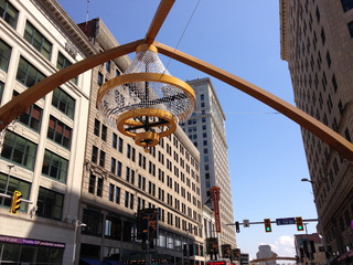 Crystals added to chandelier at Playhouse Square