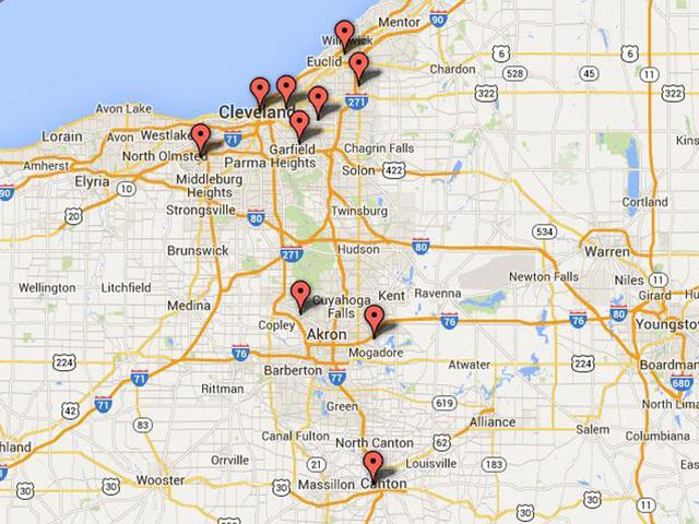 MAP Ebola Scare39s Reach In Northeast Ohio
