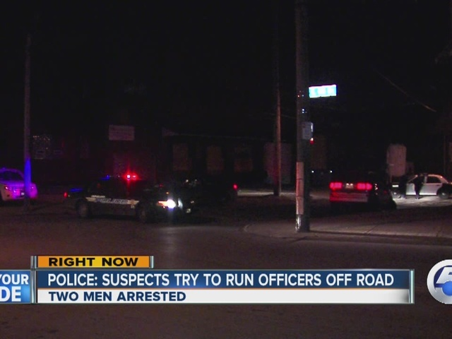 Two young men accused of trying to run cops off the road