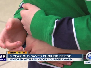 Boy, 9, honored for saving friend's life