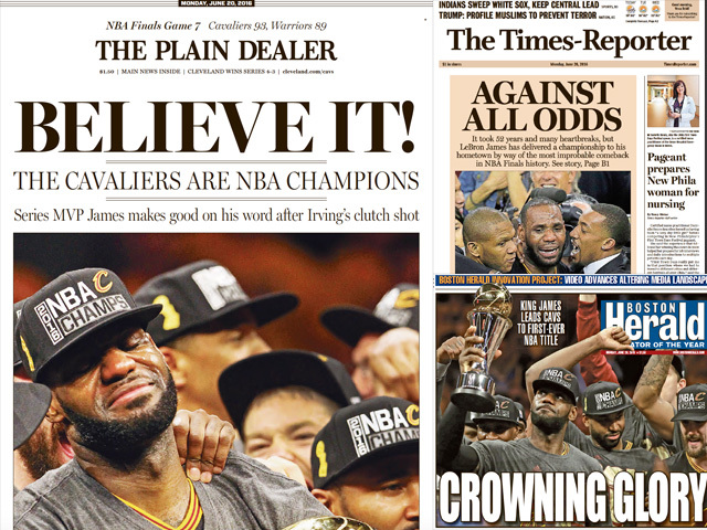 Newspaper front pages across nation show cavaliers 2016 nba