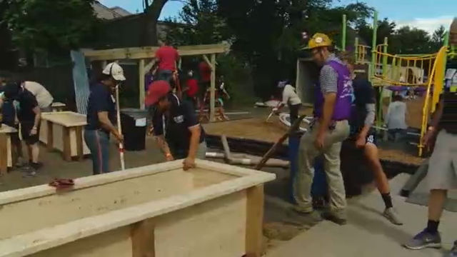 Community members build a playground in one day: More than 200…