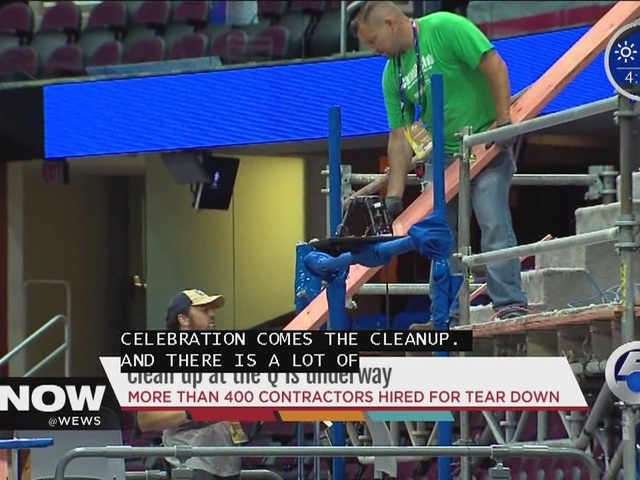 Clean up at the Q is underway and more than 400 contractors hired for tear down