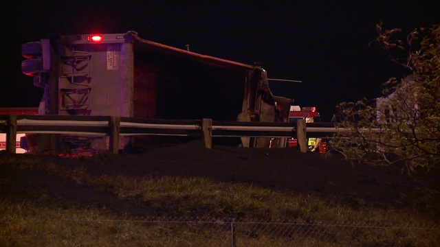 Dump truck rolls onto its side along I-90 in Euclid overnight - News 5 Cleveland