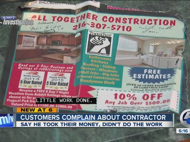 Customers complain about contractor