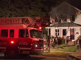 House fire at earlier homicide scene