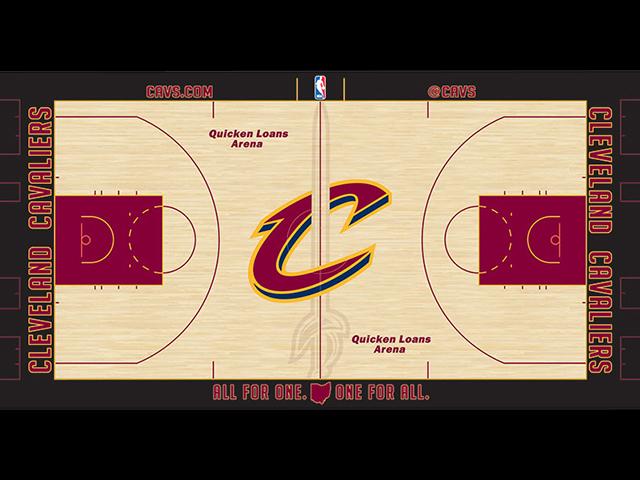 Reigning NBA Champion Cleveland Cavaliers unveil new court design