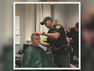 Deputies shave heads for co-worker with cancer