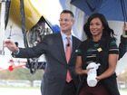 PHOTOS: Savannah James christens Goodyear blimp