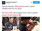 LeBron sends Indians custom headphones