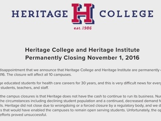Students shocked by Heritage College closure