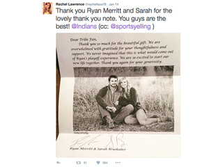 Ryan Merritt, wife thank fans for wedding gifts