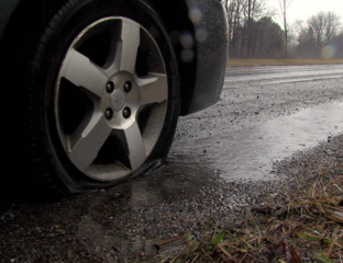 Pothole in Norton road causes flat tires