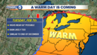 A major warmup is coming Tuesday, here's why