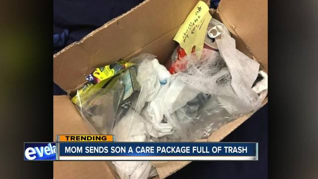 Don-t miss with this mom- Parent-s care package was packed with garbage…