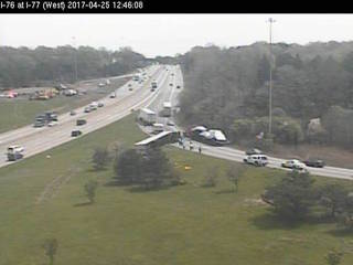 LIVE: Overturned semi closes I-76 east in Akron