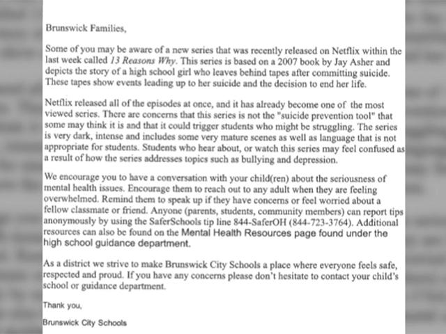 Email sent to Millard parents about Netflix series
