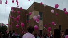 School kids release balloons for 7 fire victims