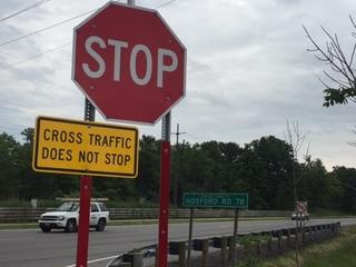 New flashing stop signs at Chardon intersection