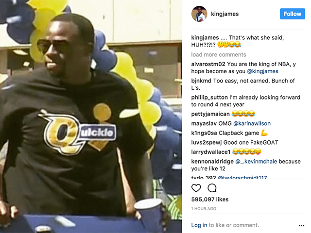 Draymond Green trolls LeBron James with 'Quickie' shirt