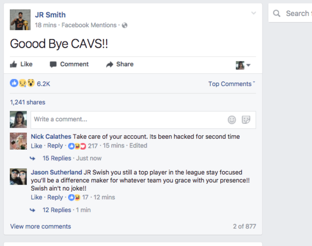 JR Smith Says He Didn't Post Farewell Message to Cavaliers on Facebook
