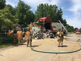 Trash truck fire likely caused by pool chemicals