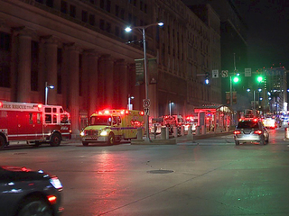 Smoke pours from downtown Cleveland building