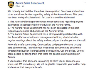 Police respond to post about Aurora Farms safety