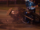 Motorcycle burst into flames after hit by truck