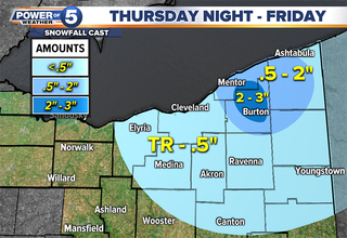 TIMING: Snow moves in to Northeast Ohio