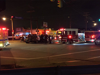 2 people trapped inside vehicle after crash
