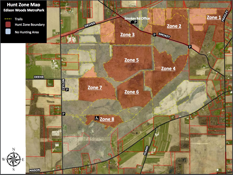 Edison Woods Metropark Hunting Zones