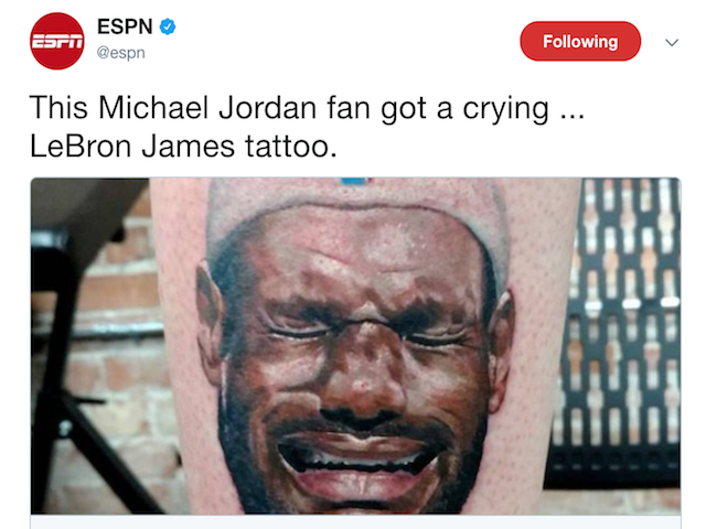 man dislikes lebron james so much he got a leg tattoo of the cavs star crying