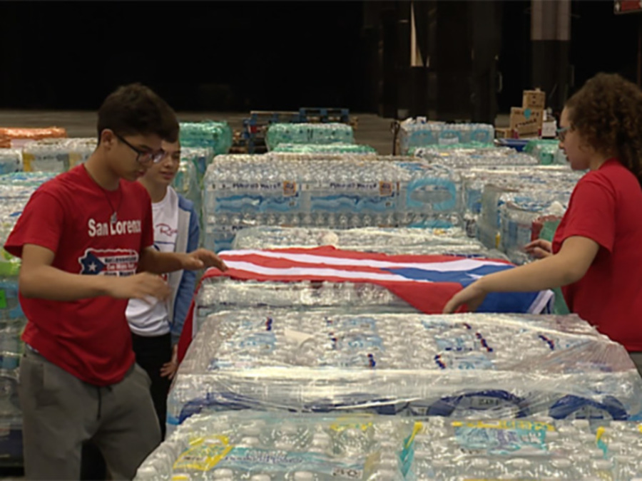 Thousands of pounds of supplies sit in the IX Center with no way of getting to Puerto Rico