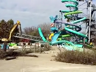 VIDEO: Thunder Falls slide demolished