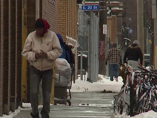 Homeless men talk life on the streets in winter