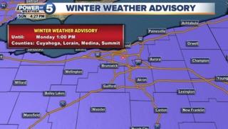 Winter Weather Advisory for NE Ohio through Mon.