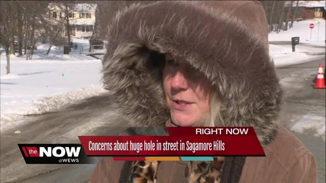 Concerns about huge hole in street in Sagamore Hills