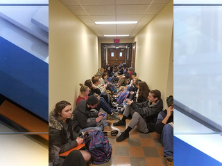 Students at The College of Wooster hold sit-in