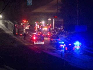 Semi hauling grenades catches fire closing I-76