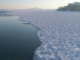 VIDEO: Aerial views of Lake Erie's icy shoreline