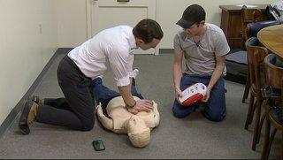 Paramedic tries to fill defibrillator void