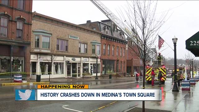 Medina Square businesses closed after historic building partially collapses